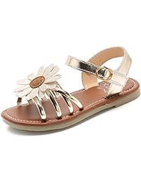 Girl's Flower Flat Sandals Cute Summer Open Toe Ankle Strap Dress Sandals for Kids (Toddler/Little Kid/Big Kid)