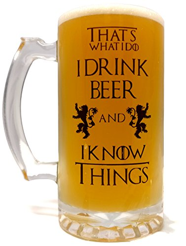 That's What I Do I Drink Beer & I Know Things - Large 16oz Beer Mug - Game of Thrones Inspired - Thick Clear Glass - Perfect Gift by USAPrime