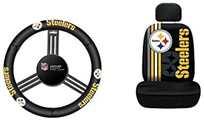 Fremont Die NFL Pittsburgh Steelers Rally Seat Cover with Leather Steering Wheel Cover, One Size, Black