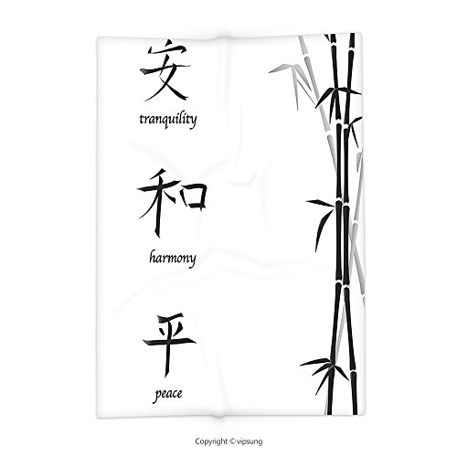 Custom printed Throw Blanket with Bamboo House Decor Illustration of Chinese Symbols for Tranquility Harmony Peace with Bamboo Pattern Inch Charcoal Grey and White Super soft and Cozy Fleece Blanket (Chest Blanket Chinese)