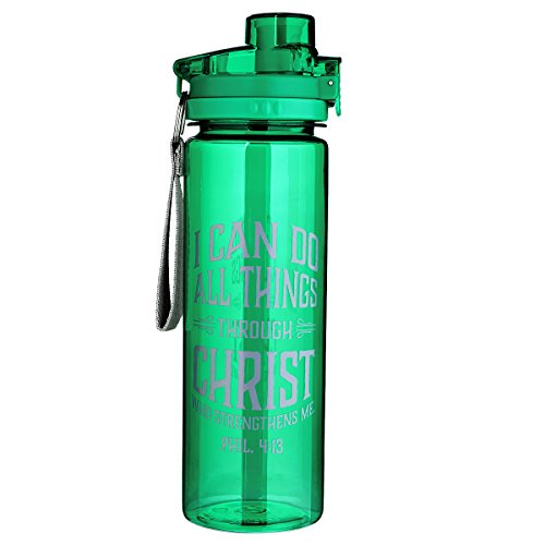 All Things Through Christ Green Plastic Water Bottle - Philippians 4:13