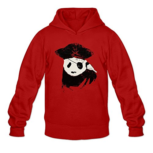 Men's Awesome Panda Pirate Simple Funny Hoodie Red Large -