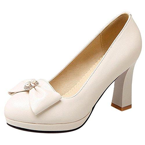 AicciAizzi Femmes A Enfiler Escarpins Chaussures Bowknot Beige Y5NDvEvg
