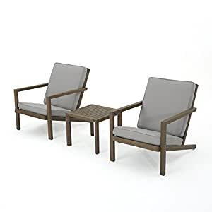 Lester Outdoor 3 Piece Grey Finished Acacia Wood Chat Set with Grey Water Resistant Cushions