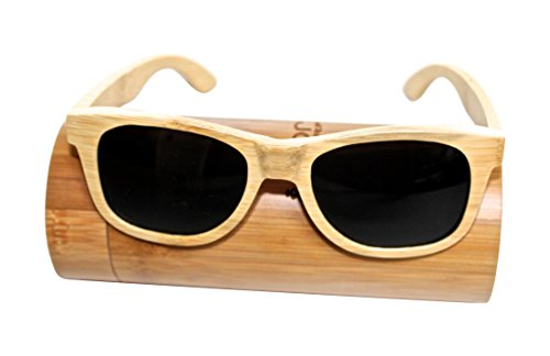 Hand Crafted Genuine Bamboo Wood Sunglasses that Float! with Free Bamboo Case - Classic Wayfarer Style - Polarized Lenses - Made From Eco Friendly Sustainable Wood - 5 Year - Proof Sunglasses Bamboo