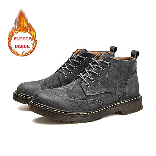 Haut Brogues Style Warm Confortable Hommes Bottes De Pour Casual Rétro Chukka Gray Chaussures Bottines Oxfords Laçage Hilotu qzT7f0wBxn