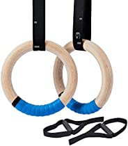 ZELUS Wooden Gymnastics Rings with 4.5m Long Graduated Straps and Grip Tape, Olympic Gymnastic Ring Kit Home W