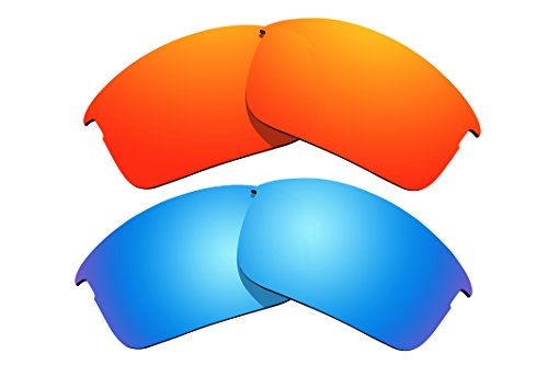 2 Pairs Polarized Lenses Replacement Fire Red & Blue for Oakley Bottle Rocket - Bottle Sunglasses Rocket