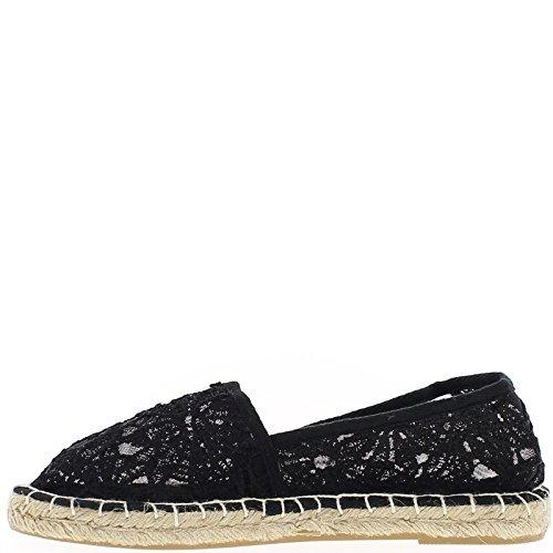 Zapatillas de encaje negro transparentes