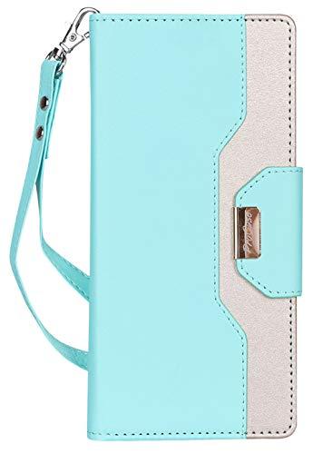 ProCase Wallet Case for Google Pixel 3 XL, Flip Kickstand Case with Card Slots Mirror Wristlet, Folding Stand Protective Cover for Google Pixel 3XL (2018 Release) -MintGreen