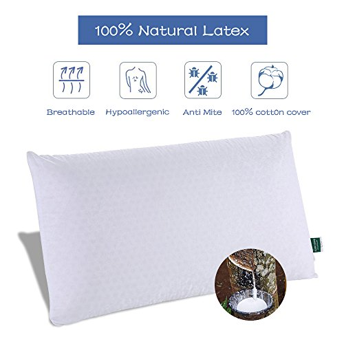 Soft Natural Talalay Latex Foam Pillow Queen with Eco-friendly Hypoallergenic and Anti-mite by Swee Sleep ( 28