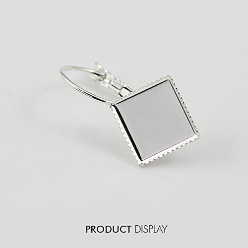 50pc Silver Plated Leverback Splitring Earring Square Cabonchon Setting Blank Disc Supplies for Jewelry Making Findings /Et26