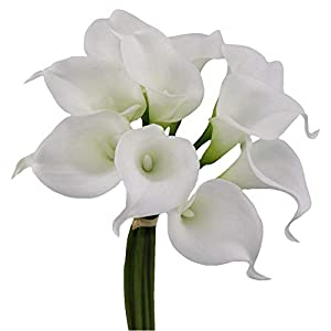 Angel Isabella 10pc Set of Real Touch Calla Lily-Keepsake Artificial Calla Lily with Small Bloom Perfect for Making Bouquet, Boutonniere,Corsage.Quality Keepsake Artificial Flower 7