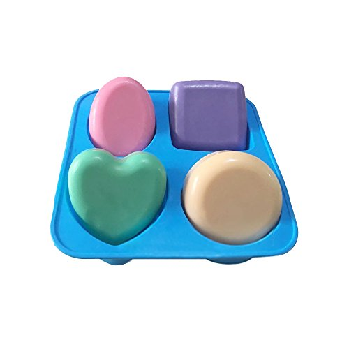 X-Haibei Basic Plain Square Heart Oval Round Soap Bar Silicone Mold Candle Making for ()