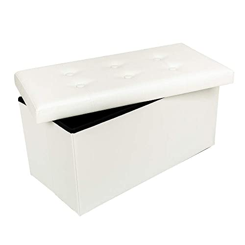Lovinland 30 Storage Ottoman Bench Folding Foot Rest Stools Padded Seat Storage Chest with Faux Leather White Button