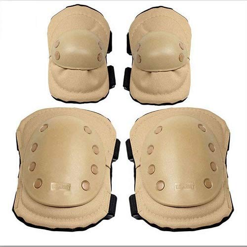 1 Set Anatomical Adult Military Tactical Elbow & Knee Safety Pads for Extreme Sports Safety Racing Enforcer BMX SWAT Skate Skateboarding Bike Game Protective Gear - Camo ACU