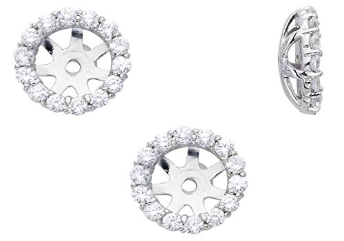 3//4ct Diamond Halo Earring Studs Jackets 14K White Gold Fits 1ct 6-6.7mm