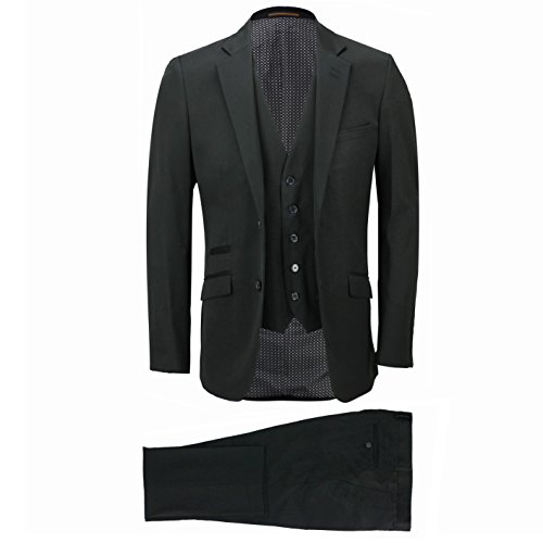a891eb92982 30%OFF Mens 3 Piece Classic 2 Button Tailored Fit Smart Casual Black Formal  Work