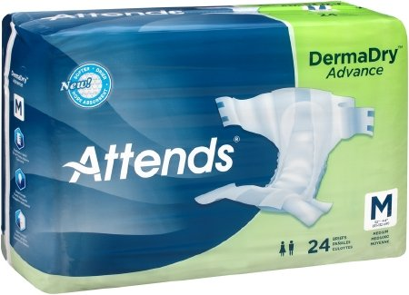 Attends DermaDry Advance Briefs, Medium (32 to 44 Inch Waist) Replacement for Attends Breathable Briefs Model#BRB20