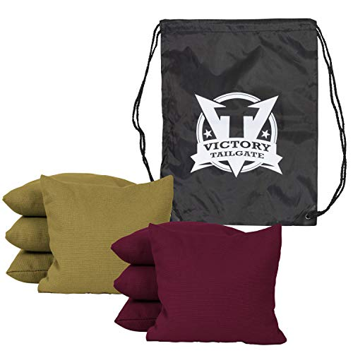 Victory Tailgate 8 Colored Corn Filled Regulation Cornhole Bags with Drawstring Pack (4 Burgundy, 4 Gold) by Victory Tailgate (Image #1)