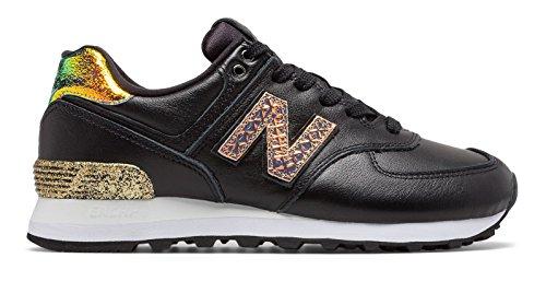 多様体ばかげた愛情(ニューバランス) New Balance 靴?シューズ レディースライフスタイル 574 Glitter Punk Black with Metallic Gold ブラック メタリック ゴールド US 7 (24cm)