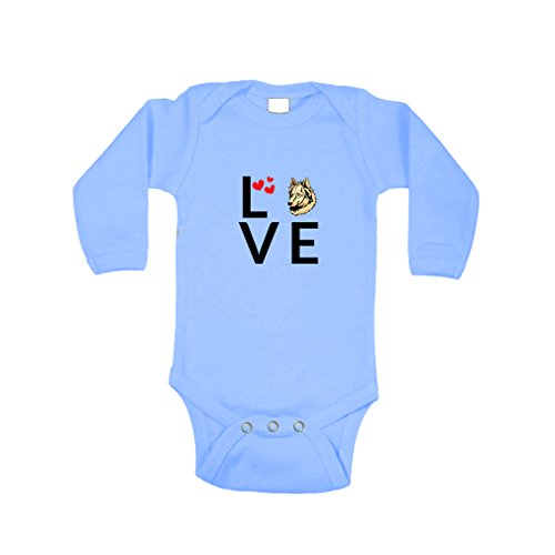an Sheepdog Love Hearts Long Sleeve Baby Bodysuit One Piece Light Blue 6 Months (Himalayan Suit)