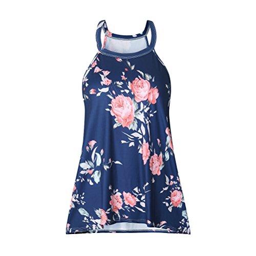 Artfish Women Summer Halter Sleeveless Floral Tank Tops T-shirts (Navy blue,S) (Halter Printed Top Navy)