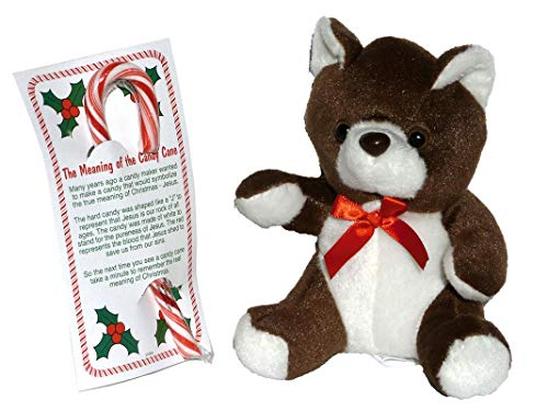 (The Meaning of the Candy Cane - Bundle of Card, Candy and Stuffed Animal Teddy Bear – Brown)