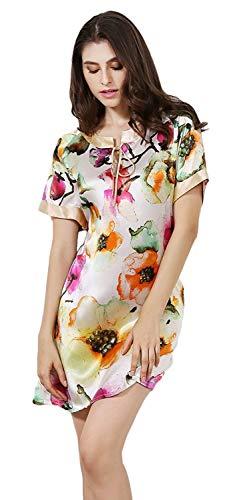 Suave Cómodo Pijama Vintage Mujer Verano Elegantes De Fashionista Redondo Vestido Og Corta Cortos Floreadas Farbe Manga Camisón Camisones Cuello Dormir qOgZIw56