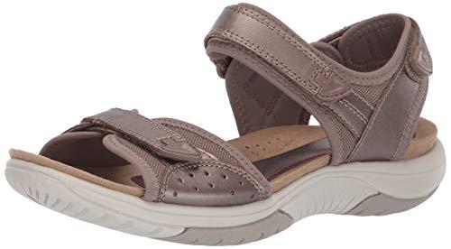 Rockport Women's Franklin Three Strap Sandal, Taupe Metallic, 085 M US (Rockport Ladies Sandals)