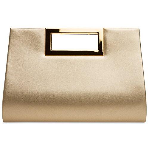 CASPAR TA408 elegante Damen XL Clutch Tasche / Abendtasche / Umhängetasche mit langer Kette Gold