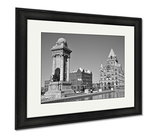 Ashley Framed Prints Soldiers And Sailors Monument And Syracuse Saving Bank Building At Clinton, Wall Art Home Decoration, Black/White, 26x30 (frame size), Black Frame, AG6086038 (Of America New Syracuse Bank York)