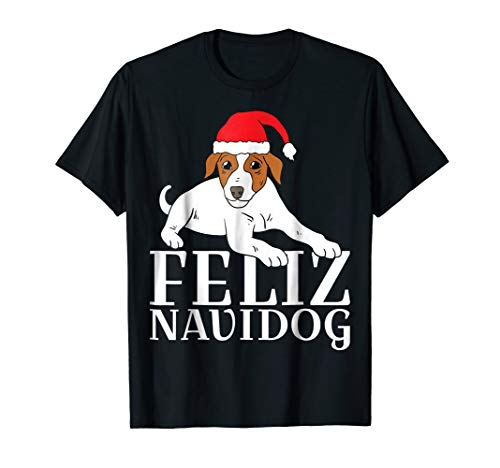 Mens Feliz Navidog T-Shirt Dog Jack Russell Terrier Christmas Tee Small Black