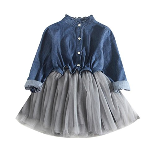- Vicbovo Adorable Kids Toddler Baby Girls Casual Long Sleeve Denim Princess Tutu Dresses Cowboy Clothes (Dark Blue, 2T)
