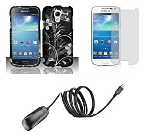 Bloutina Samsung Galaxy S4 Mini - Bundle Pack - Silver Meadow Butterfly Flower on Black Design Case + Atom LED Keychain...