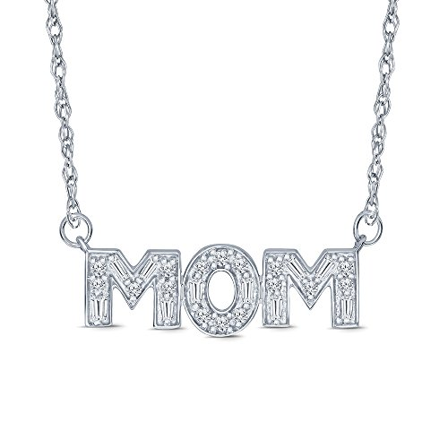 La Joya Sterling Silver 1/5ct Round Baguette White Diamond Mom Tag Pendant Necklace for Women Mom ()