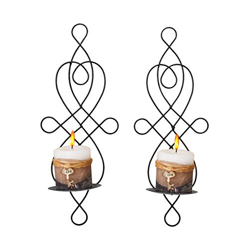 - Wall Sconce Tea Light Candle Sconces Elegant Swirling Iron Hanging Wall Mounted Decorative Candle Holder for Home Decorations, Weddings, Events, 2 Piece, Black