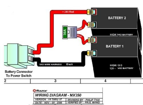 24 volt scooter battery wiring diagram razor 12 volt wire harness electric scooter batteries high ...