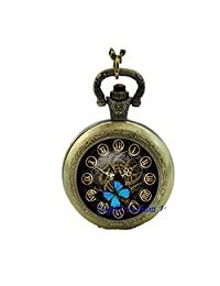 Butterfly Clock Watch Necklace Clock Art Photo Quartz Pocket Watch Necklace