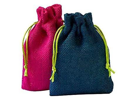10 bolsas de yute, 5 color rosa, 5 color azul, con cuerda ...