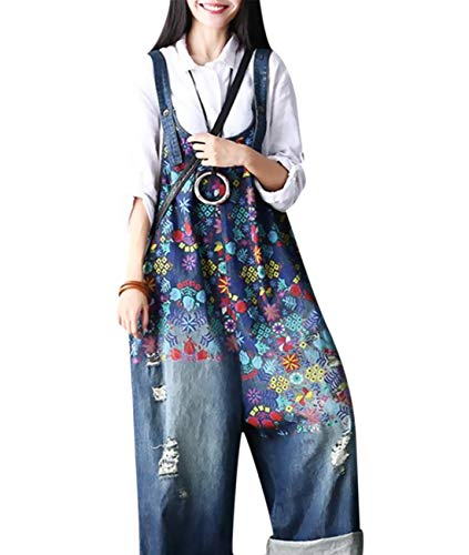 Women Long Wide Leg Floral Denim Jumpsuits Rompers Boyfriend Plus Size Casual Loose Jeans Overalls Baggy Harem Bib Pant Ripped/Pockets PF1