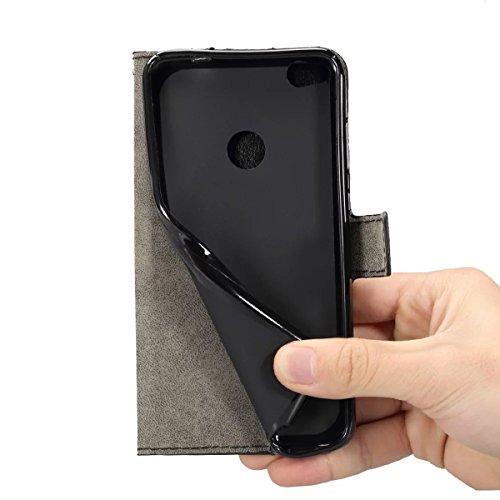 Funda Huawei P8(2017),Tianqin Material de Cuero Estuche Protección Huawei P8(2017)[ Flip Carcasa] [Inteligente Cierre Magnético] [Plegable Soporte ]Cuero y Silicona Para Huawei P8(2017) Cartera Móvil  Negro