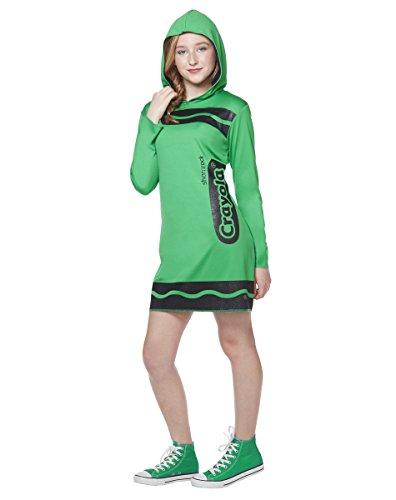Spirit Halloween Costumes For Tweens (Spirit Halloween Tween Sparkle-Print Hooded Crayon Costume - Crayola,Shamrock Green,XL)