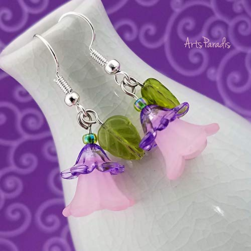 (Pink and Purple Flower Dangle Earrings with Green Leaf by ArtsParadis - Wildflower Floral Garden)