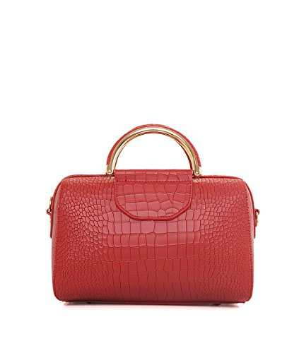 Y.H.X Christmas Gifts Women's Handbags Crocodile Skin Stylish Solid Color All Match Ladylike Bag Color Red - Faux Crocodile Skin Handbag