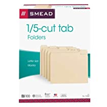Smead File Folder,  1/5-Cut Tab, Letter Size,  Manila, 100 Per Box (10350)
