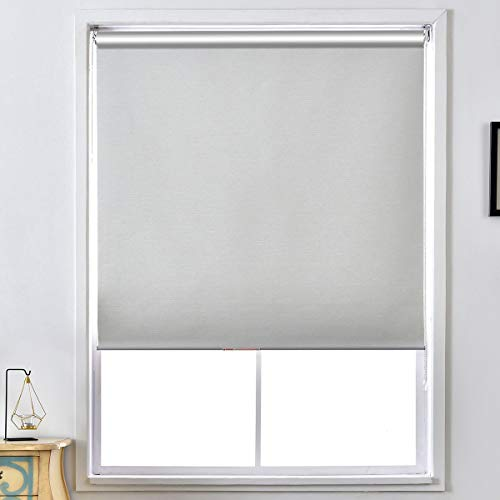 "ALLBRIGHT Thermal Insulated Fabric 100% Blackout UV Protection Striped Jacquard Roller Shades for Windows,Easy to Install (LightGray, 26"")"