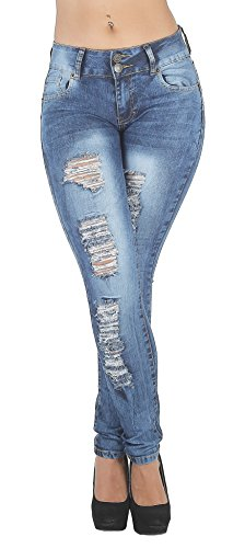 (Fashion2Love Plus Size, Butt Lifting, Destroyed, Ripped, Sexy Skinny Jeans in M. Blue Size 14)