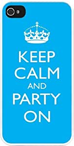 Rikki KnightTM Keep Calm and Party on - Sky Blue Color Design iPhone 5 & 5s Case Cover (White Rubber with bumper protection) for Apple iPhone 5 & 5s