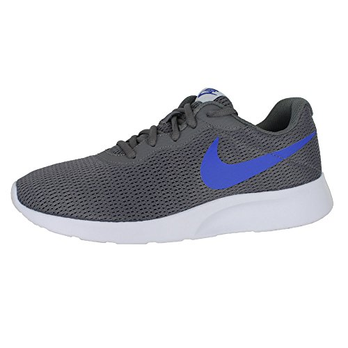 NIKE Men's Tanjun Sneakers, Breathable Textile Uppers and Comfortable Lightweight Cushioning Gunsmoke Racer Blue White